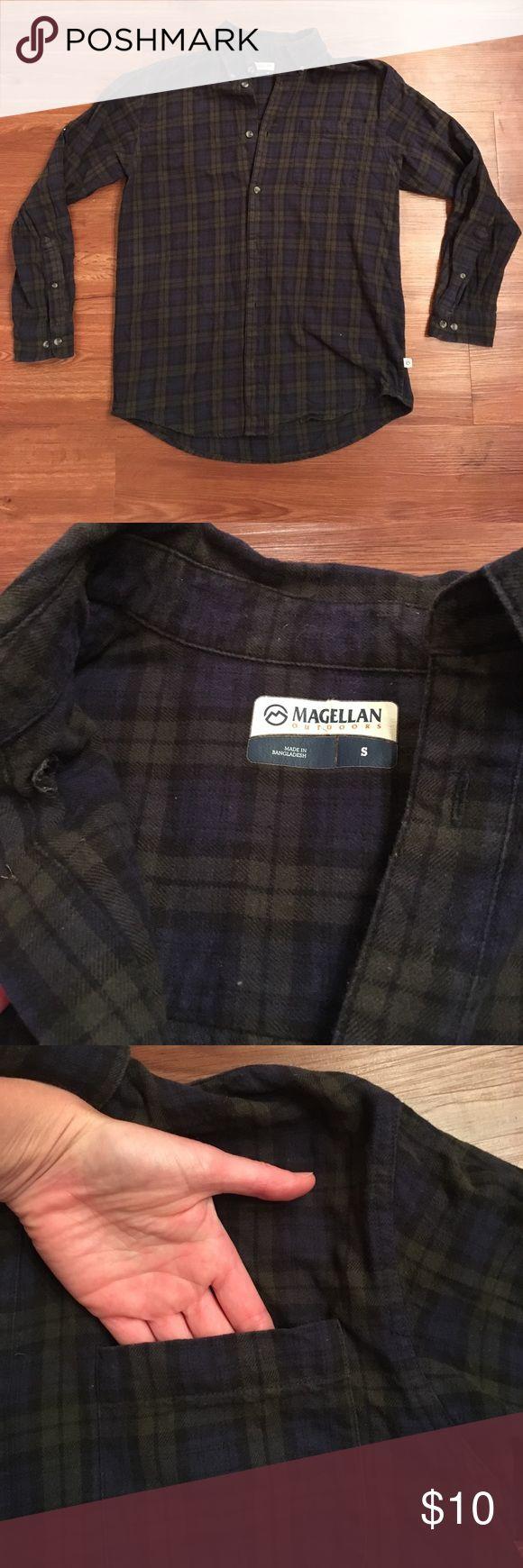 Magellan dark green and blue flannel shirt Magellan dark green and blue flannel shirt, men's small. Worn but still in good shape. magellan Shirts Casual Button Down Shirts