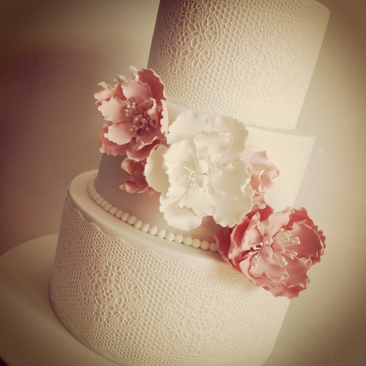 Sugarveil Lace Cake With Peony Flowers Cake Envy My