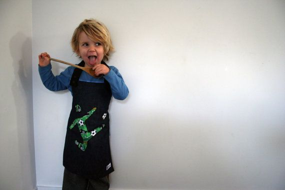 Boy (or unisex) Apron with Car, Soccer player, or Helicopter Applique