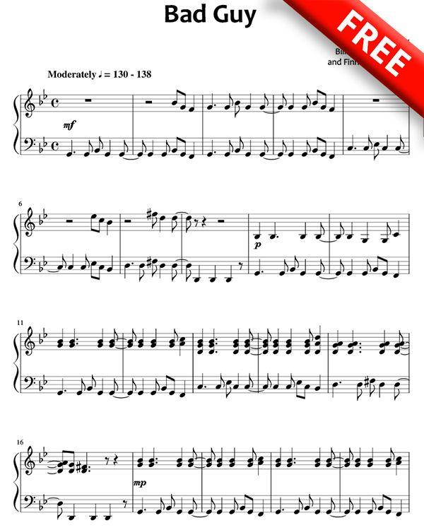 Bad Guy Sheet Music Billie Eilish With Images Sheet Music Pdf