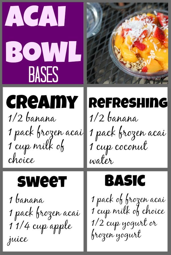 Acai bowl bases, combos + how to make an acai bowl at home. These are an amazing summer snack, but can cost around $8. make them for much less at home!