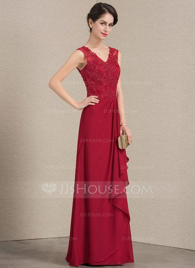 35d2ed7ebe8 A-Line Princess V-neck Floor-Length Chiffon Lace Mother of the Bride Dress  With Beading Sequins Cascading Ruffles (008143346) - JJsHouse