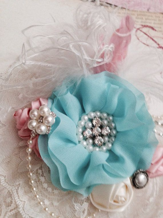 Blush Pink, Aqua and Ivory Lace Headband/Feather Fascinator... Perfect for Easter, Weddings, Tea parties and Birthdays