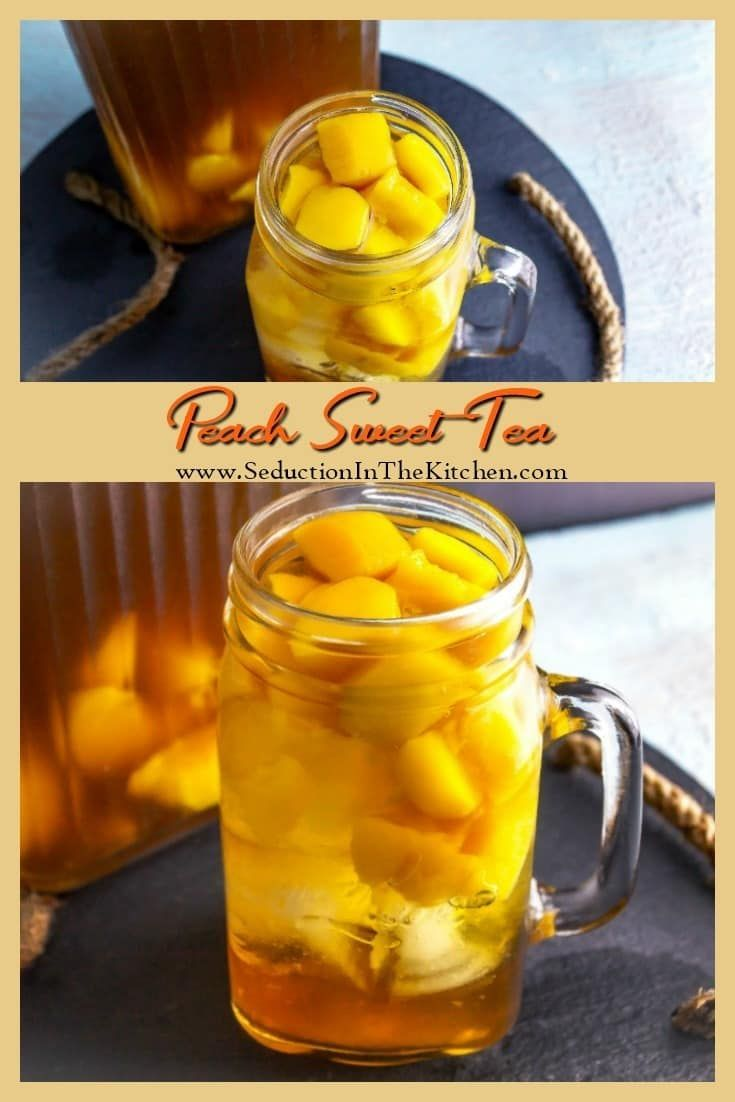 Peach Sweet Tea is a southern thirst quencher that will help you beat the summer heat. It is so easy to make at home that youwill never want store bought Peach Sweet Tea again! via @SeductionRecipe