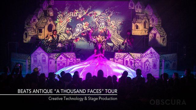 """Creative Technology & Stage Production   For the majestic Beats Antique tour """"A Thousand Faces - Act 1"""", Obscura joined forces with Director Ivan Landau and a band of artists to bring an elaborate stage production of Joseph Campbell's """"The Hero's Journey"""" to life. The show was a  successful fusion of Obscura's performance technology innovations with Beats  Antique's rich multi-dimensional theatrical show. The live convergence of ..."""