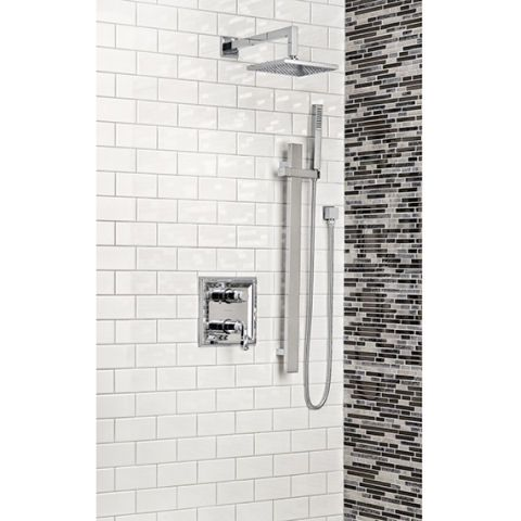 • R522 - Thermo rough valve w/built in 2 way Diverter • T555740 - Town Square 2-Handle Thermo Trim Kit • 1660230 - Square Slide Bar • 8888069 - 1/2'' Square Wall Supply • 8888035 - 59'' (1499mm) Shower hose • M953062 - Square Handshower • M953063 - 16'' (406mm) Square Shower Arm • 1660191 - Square Shower Arm escutcheon • 1660689 - 8'' (203mm) Square Rain Shower Head • 1660104 - 3'' (76mm) Ceiling Shower Arm w/Square escutcheon plate (optional)