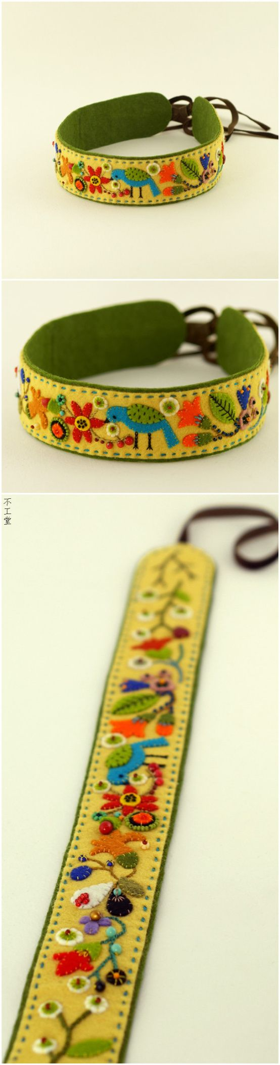 Felt wristlet. Love the details in the embroidery.                                                                                                                                                                                 Más