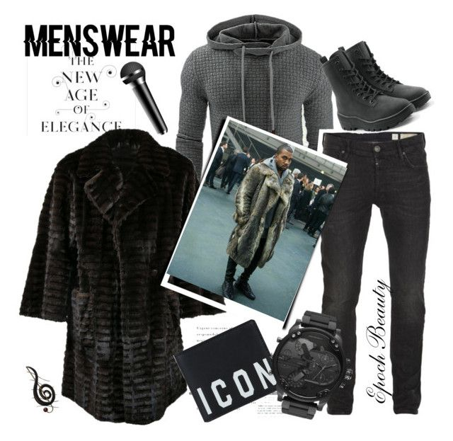 """College Dropout"" by epochbeauty on Polyvore featuring Fendi, AllSaints, Yeezy by Kanye West, Dsquared2, Benzara, men's fashion and menswear"
