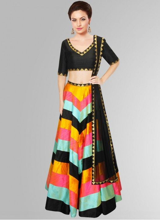 Black With Multi Banglori Silk Navratri Special Printed Lehenga Choli #Lehenga…