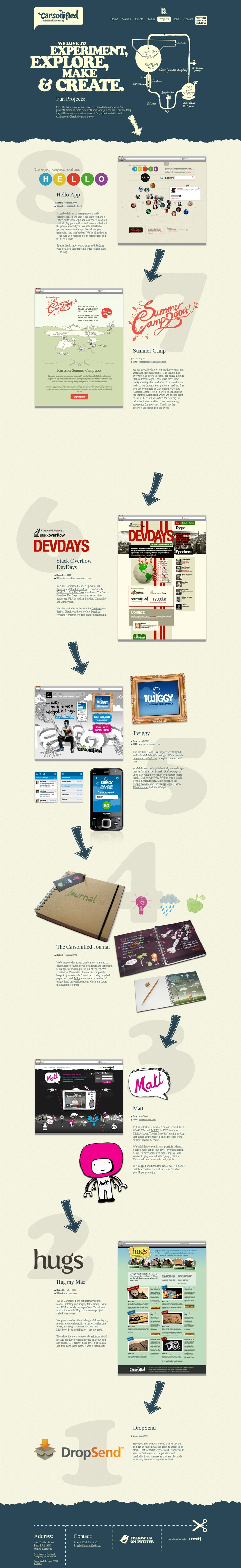 carsonified.com: projects section. Web Design