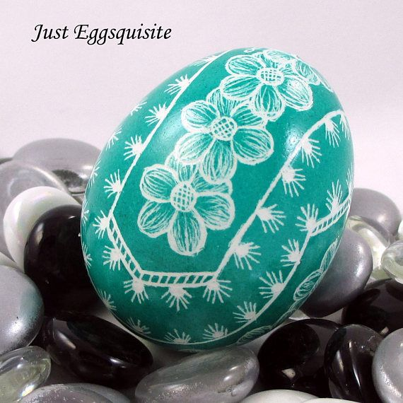 Pysanky Pisanki Ukrainian Polish Easter Egg Teal Floral Doily