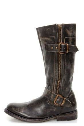 #Bed Stu Gogo Black Hand Wash Leather Belted Riding Boots