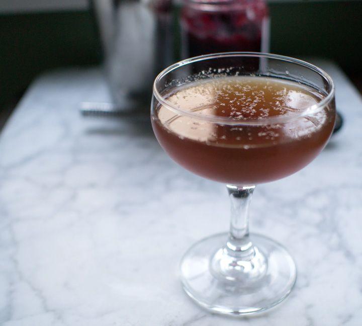 Wintry Manhattan: whiskey, Italian vermouth, allspice dram, orange bitters, brandied cherry, fresh nutmeg | The Best Remedy