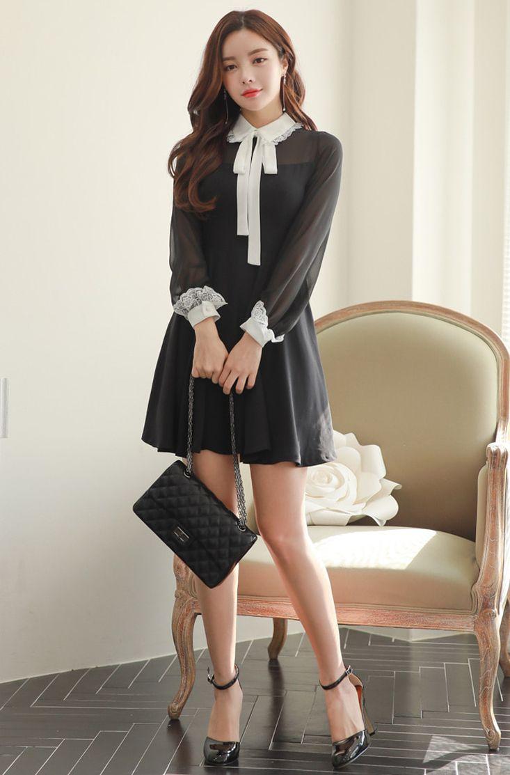 Contrast Collar And Cuff Sheer Sleeve Dress CHLO.D.MANON   #black #white #classy #dress #koreanfashion #kstyle #kfashion #springtrend #seoul #formallook
