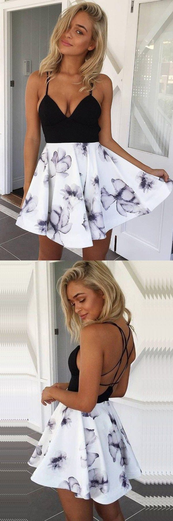 simple a-line homecoming dresses, cheap floral criss-cross back party dresses, fashion short prom dresses.