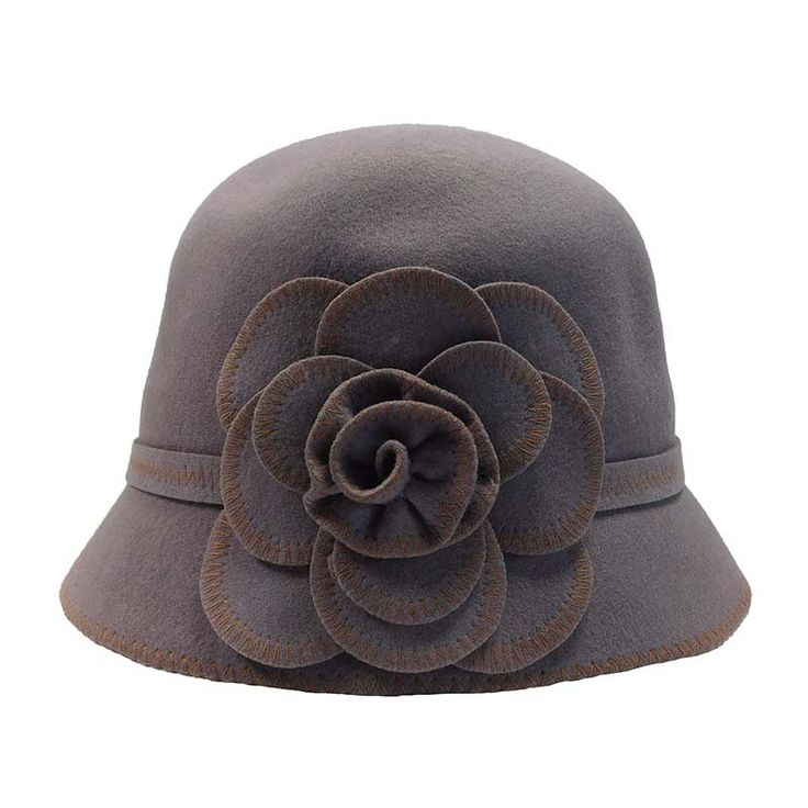 Wool Felt Cloche with Stitched Flower