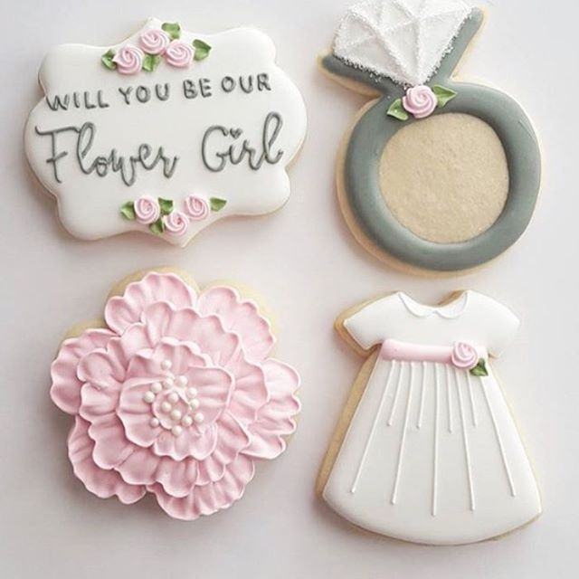 #SweetSunday morning!! What a cute way to ask your lil #flowergirl to be a part of your #Wedding day!! This adorable cookies are done by @freshbakes #weddingcookies #favors #bridalparty #CTWeddings