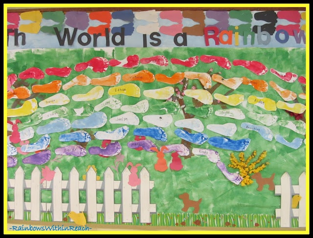 Rainbow Bulletin Board of Painted Feet (from Bulletin Board RoundUP via RainbowsWIthinReach) Would title Gods world is a rainbow.
