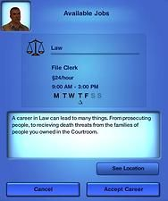 Mod The Sims - Sims 3 Custom Career: Law (From the Sims 2: Seasons). Fulltime.
