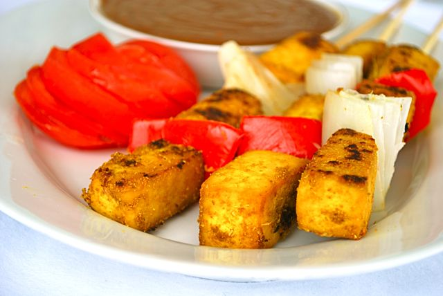 Tofu Satay with Peanut Dipping Sauce | Plant Strong! | Pinterest