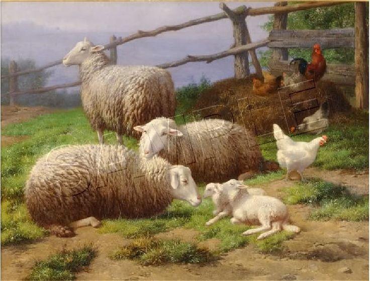 "Sheep Paintings | Details about ""EVENING REST"" VINTAGE SHEEP LAMB FARM CANVAS ART PRINT"