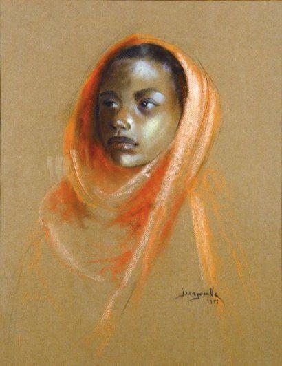 Jacques Majorelle - Portrait d'une jeune marocaine (1955)