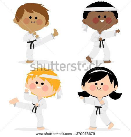 Group of karate kids wearing martial arts uniforms. Group of children wearing martial arts uniforms: karate, Taekwondo, judo, jujitsu, kickboxing, or kung fu suits vector set - stock vector