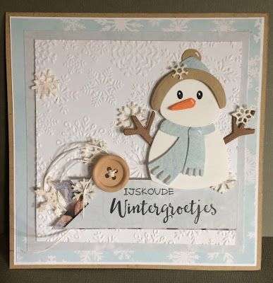 Handmade card by DT member Neline with Collectable Eline's Snowman (COL1413), Design Folder Ice Crystals (DF3420), Craftables Punch Die Snowflakes (CR1335) and Banners (CR1299) from Marianne Design