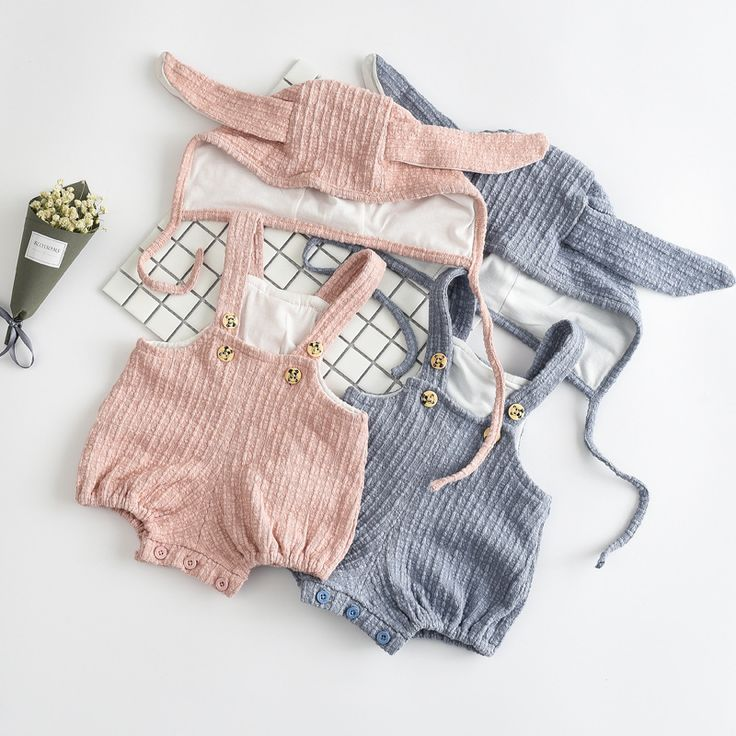 Hu sunshine wholesale 2017 spring baby girls bunny rabbit solid rompers + ear cap pure pink light bluers