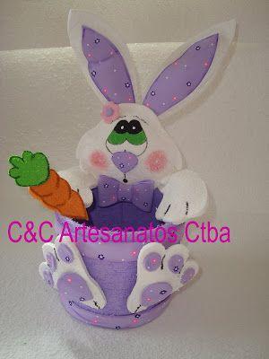 C&C Artesanatos CTBA: Cesta De Pascoa em E.v.a com coelhinha