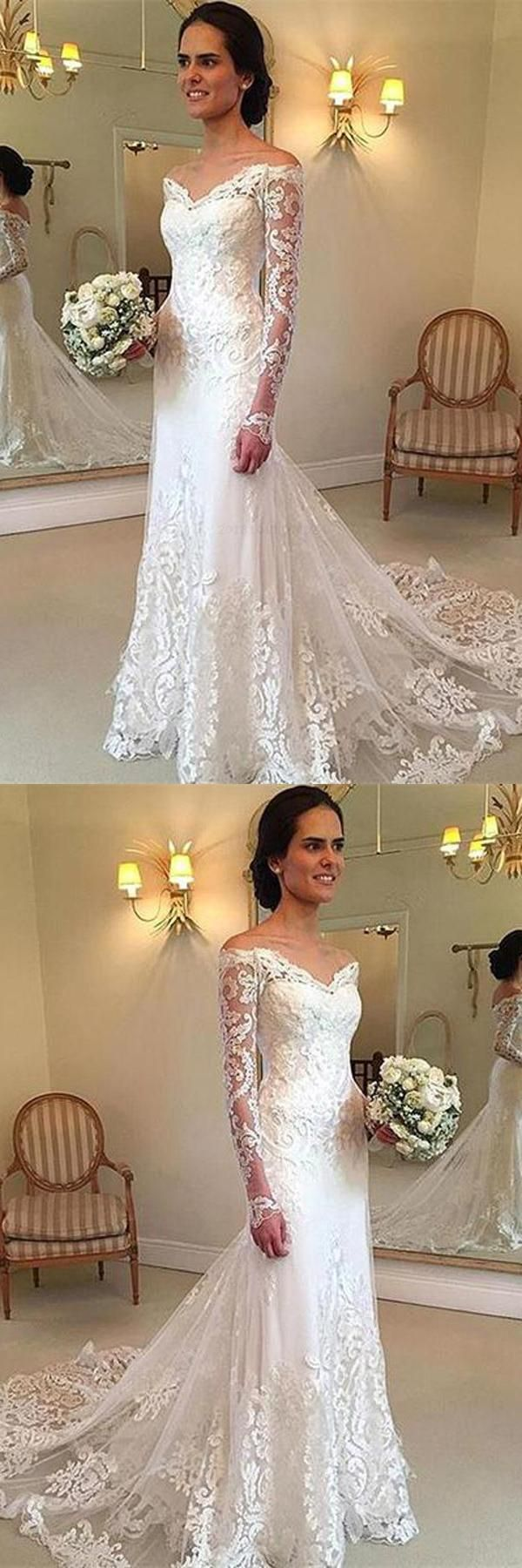 Outlet Great Wedding Dresses With Sleeves, V-Neck Wedding Dresses, Wedding Dresses Lace