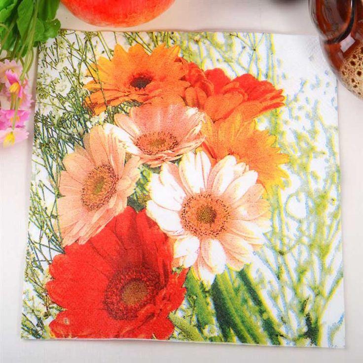 Flowers Paper Napkins Event & Party Tissue Napkin Supply Party Wedding Cafe Decoration 33CM*33cm 20pcs/pack/lot