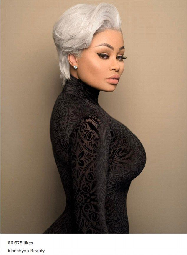 'Beauty': Blac Chyna attached the one-word caption to an Instagram modeling shot that saw her with coiffed, silver hair cropped short