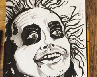 Beetlejuice, Beetlejuice, Beetlejuice!! Hand drawn & Inked A4 unframed Character Picture. Geeky Gift / Horror Fan Art - Ready to post.