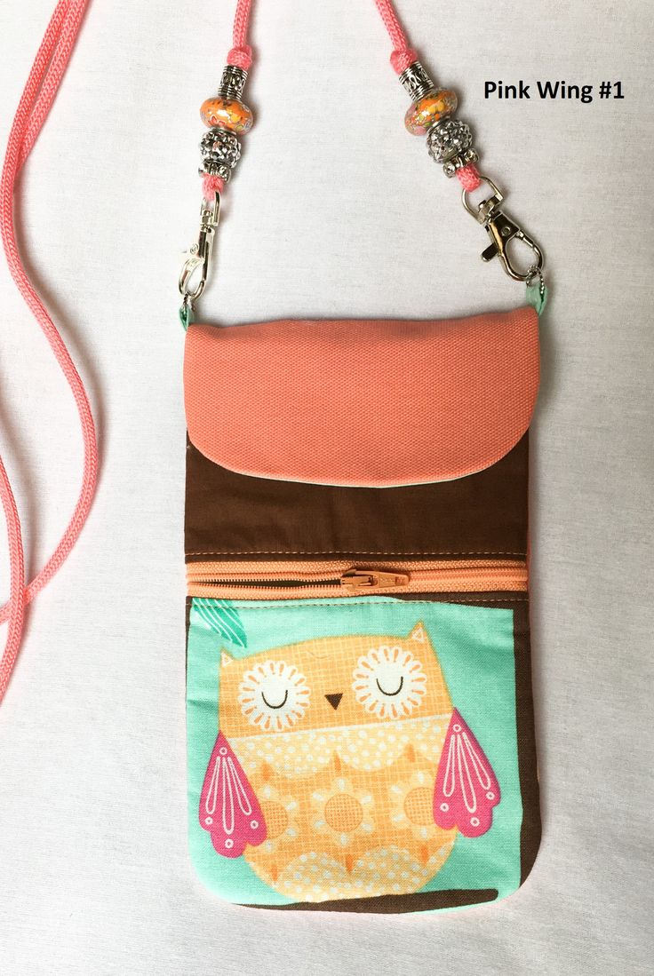 Owl Peach Cell Phone Pouch, Peach Zipper Pouch, Card Holder, Large Cross Body Cell Phone Pouch by SewWithIt on Etsy