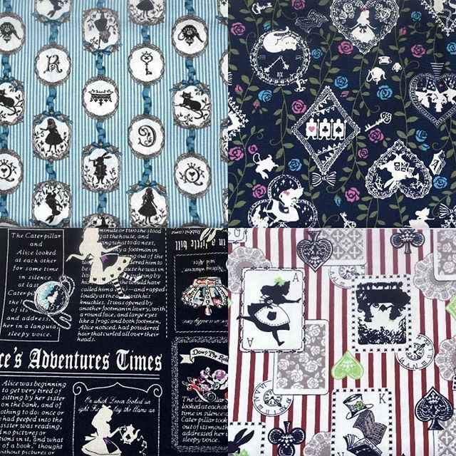 Happy Monday everyone! Just received this new shipment of #aliceinwonderland fabric and I'm in ❤️. Which is your favourite? I'm swaying towards the red stripe but it's hard to decide