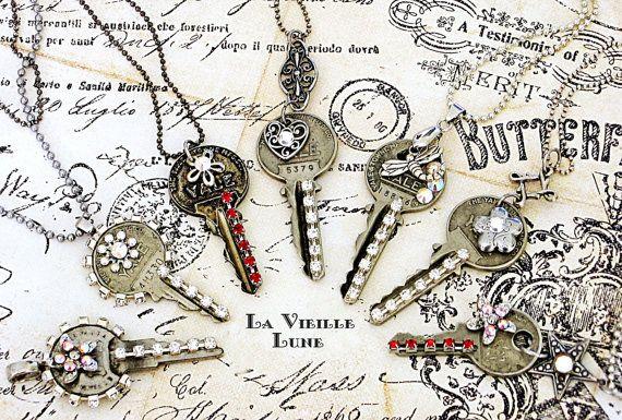 Upcycled Key Necklace, Jeweled Key Pendant, Recycled Keys - Pick ONE - Found Object Necklace, Found Object Jewelry, Upcycled Jewelry