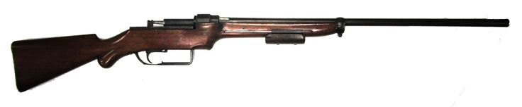 Fosbery 1891 Patent long gun Manufactured c.1891 as a rifle by Georges V. Fosbery of the later Webley-Fosbery fame, remade c.~1909 as a shotgun.16 gauge with missing fixed or top-loaded box magazine, pump action repeater, slamfire capable.