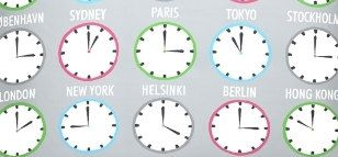 Fabric grey worlds time clocks print Cotton by FabricCraftSupplies, $3.50