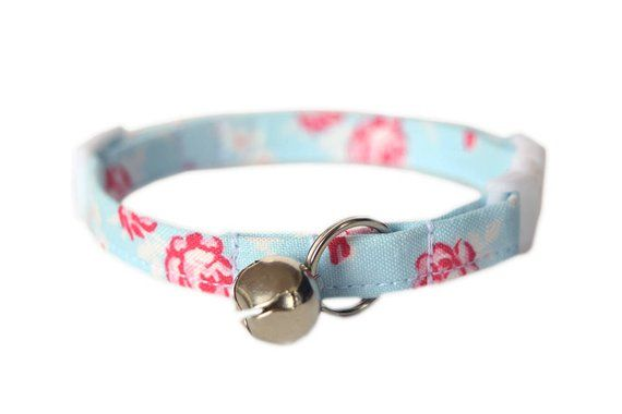 c06cbca23a4a6 Blue Floral Cat Collar, Breakaway Cat Collar, Cute Pastel Blue ...