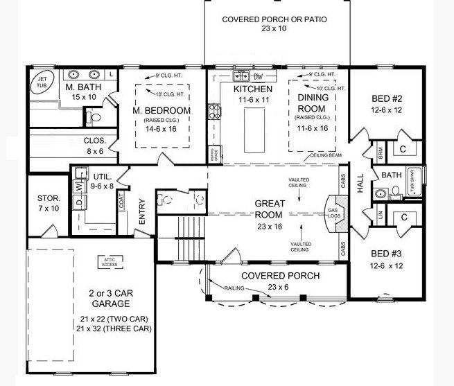 Ranch Floor plan open floor plan modified.  Adding sliding doors to porch from master bedroom... Adding bigger closet and master bathroom