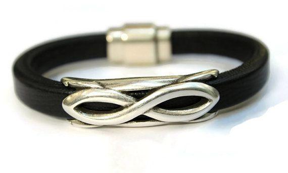 Infinity Bracelet Black Bangle Black by PepperPotLeatherShop, $50.00