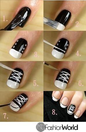 How to make converse nail design @Crystal Chou Chou Chou Sloan and @Danielle Lampert Lampert Lampert Karrmann