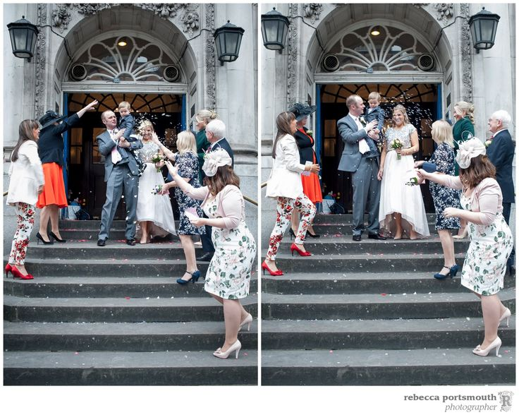 The Chelsea Registry Office wedding photos of Victoria + Dominic: wedding confetti on the steps of Chelsea Old Town Hall in Kings Road London