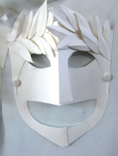 Greek comedy and tragedy masks using simple white card - great idea for English class / plays