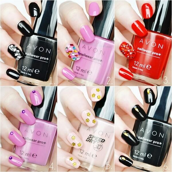 Makeup Savvy loihti kuudet kevätkynnet Avon kynsilakoilla ja koristeilla. | Makeup Savvy blogger created six spring nail looks with Avon polishes and jewels. Blacks, pinks, red and nude. http://www.makeupsavvy.co.uk/