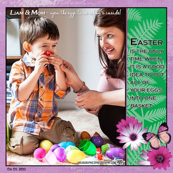 Easter Eggs with Liam by DogArtist. Kit used: Flower Symphony http://scrapbird.com/designers-c-73/a-c-c-73_514/aadesigns-c-73_514_395/flower-symphony-kit-by-aadesigns-p-15176.html