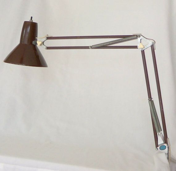 Vintage Ledu Swing Arm Architect Lamp Brown Mid by BeeHavenHome, $45.00