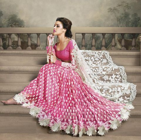 Off White and Pink Color Net Designer Sarees : Shehzaadi Collection YF-20616