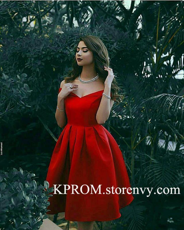 semi formal knee length classy red dress
